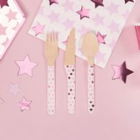 Little Stars Pink Wooden Cutlery (24)